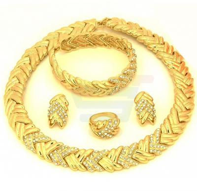 18k Gold Plated Cubic Zircon Italian Mat Shinning Mixed Jewelry Set For Women
