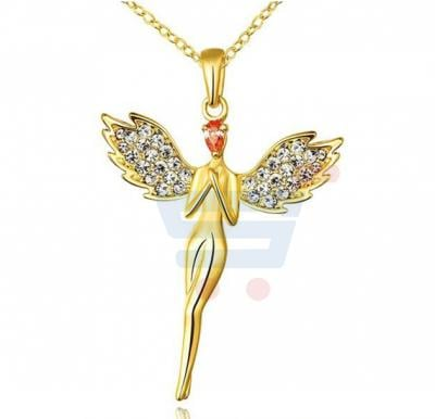Classic Austrian Crystals Gold Color Angel Wings Necklace Fashion Jewelry For Women
