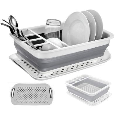 IPstyle Collapsible Dish Drying Rack, Multipurpose Dish Drainer Foldable Kitchen Filter Water Storage Sink Dish Rack with Drainboard
