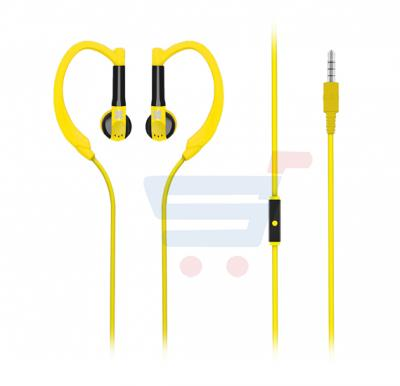 Promate Sports Headphone In-Ear Exercise Earphone With Mic for Running GYM Jogging for Smartphone and Tablet - Gaudy.Yellow