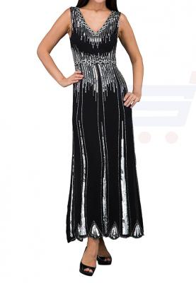 TFNC London Virginia Maxi Evening Dress Black/Silver - LNB 15670 - L