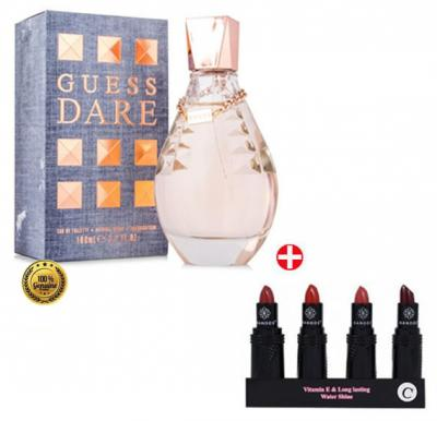 Combo Offer - Guess Dare Edt 100 ml Perfume For Women + Banoos 4 Pcs Sets Lipstick Vitamin E & Long Lasting Water Shine LS1340