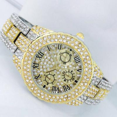 Catwalk Fashionable Cz Stone Covered Analog Stainless Steel Gold Dial Watch for Women, CW1021