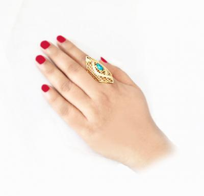 Ayisha Jewellery 22K Gold Plated Ladies Luxury Rings with Crystal Feroza Stones, AY 015