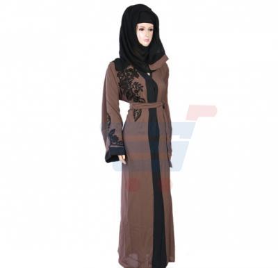 Ayishas Nida Colour Black Stones Brown Embriodery Handmade Abaya, Nida Colour ABHW-1