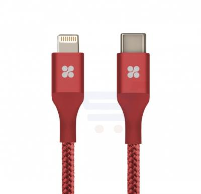Promate USB Type-C to Lightning Cable, Heavy Duty Nylon Braided 2.4A Type-C to Lightning Sync and Charging 2M Cable with Android OTG Support for MacBook Pro, iPhone X, 8, 8 Plus, Samsung Note 8, S8, S8+, UniLink-LTC2 Red