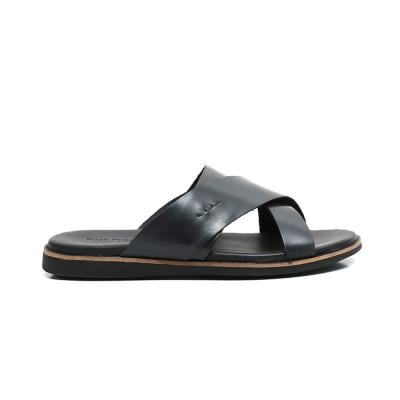 Hush Puppies Mens Slipper Black Leather, HM02052-007