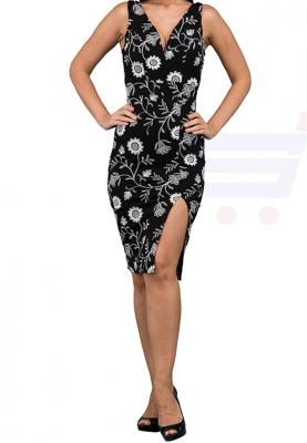 WAL G Italy Full Embroidered Midi Formal Dress Black - WG 6230 - XXL