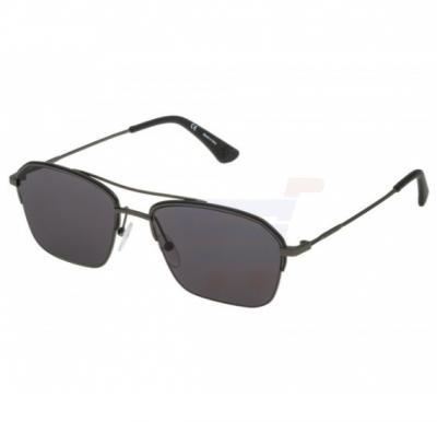 Police Rectangular Grey Frame & Grey Mirrored Sunglasses For Men - SPL361-08HS