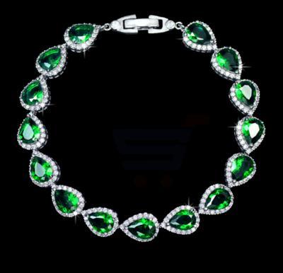 Tiara Elements Emrald Color Leaf styled White Gold Plated Bracelet - UB0029C
