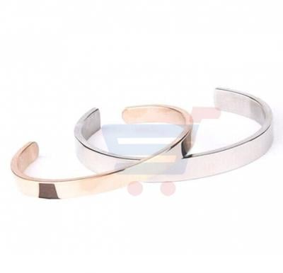 Titanium Steel White and Rose Gold Open Couple Bracelet - cb22