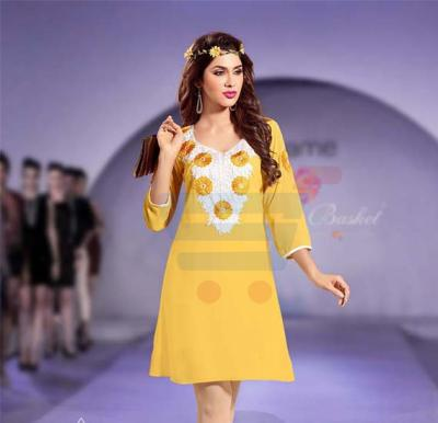 Falak Kurtis Fully stiched with Inner Yellow - XXL