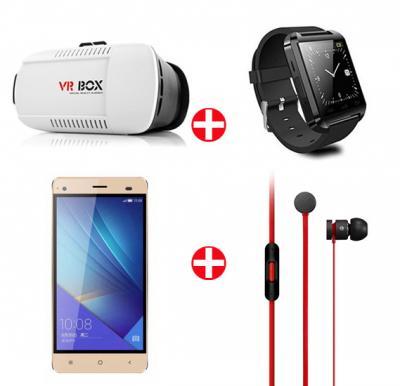 Bundle Offer! VR Box + Bluetooth Smart Watch + Hotwav Fone Mate S Smartphone + Earphone(GOLD)