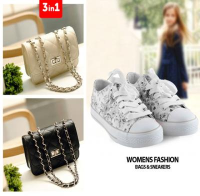 3 In 1 Womens Fashion Bundle Of Bags & Sneakers (35 size)
