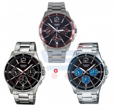 Combo Offer Casio Analog Watch For Men, Chronograph-MTP-1374D-1A, And Casio Analog Watch For Men, Silver Stainless Steel MTP-1374D-2A, Casio Analog Watch For Men -MTP-1374D-5A