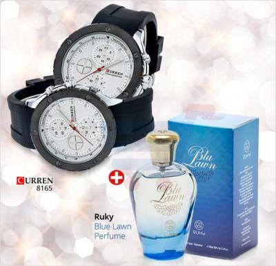 Bundle Offer! Curren 8165 Watch for Men & Get Ruky Blue Lawn Perfume for Women FREE