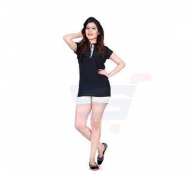 Tempting Half Sleeve Top Black Color - 96CL096 - XL