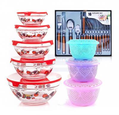 3 in 1 kitchen bundle, Epsilon 16 Piece Cutlery Set, 3 Pieces Fruit Basket With Cover and  5 Pieces Glass bowl Sets