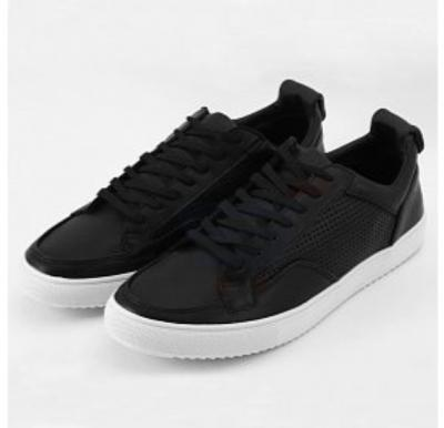 Mokun Lace Up Punched Quarter Leather Sneakers Black For Men - 20301 - 44