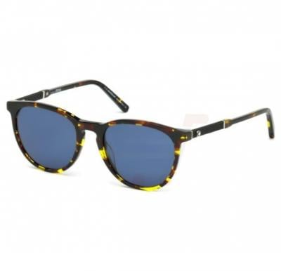Mont Blanc Oval Havana Frame & Brown Mirrored Sunglasses For Unisex - MB588S-55V