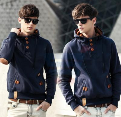 Mens Hoodie Casual Fastener Design Fashion Coat Blue (Small) - 0561