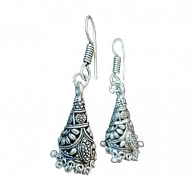 Nora Earrings White Metal Handmade -  A0061