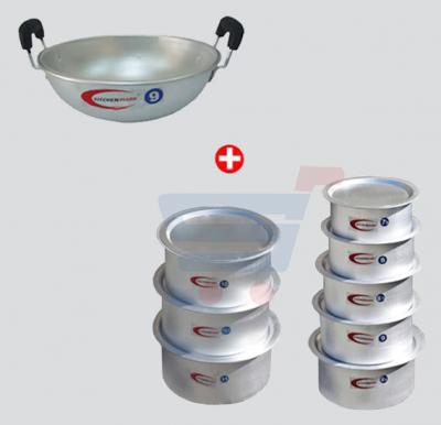Combo Offer! Kitchenmark Top Set 8 Pcs Heavy-5766+Kitchenmark Kadai With Aluminium Handle 09-5792