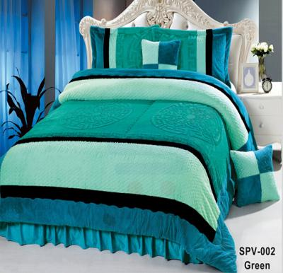 Senoures Velour Comforter 6Pcs Set King - SPV-002 Green