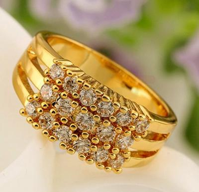 18k Gold Plated Three Rows Inlaid Cubic Zircon Valentine Ring US8 For Unisex