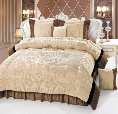 Senoures Velour Comforter 6Pcs Set King - SPV-008 Camel