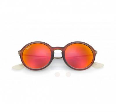 Ray-Ban Round Red Frame & Red Mirrored Sunglasses For Women - RB4222-61676Q-50