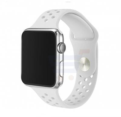 Silicone Watch Band For Apple Watch 42MM Bracelet Strap With Breathable And Holes Sport Silver White