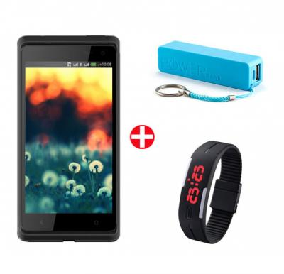 Bundle Offer! M-Horse Desire 606W Smartphone, 2G, Android 4.4, 4inch Display, 256MB RAM, 512MB Storage, Dual Camera, Bluetooth, Dual SIM & Get Power Bank + Wrist Band Sports Watch FREE(BLACK)