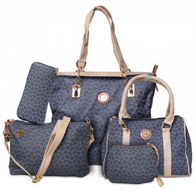 Generic PU Leather Women Handbag 5pcs Set,Blue