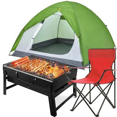 3 in 1 Camping Bundle Camping Tent for 3 Person, 13756656 S with Generic Camping Chair, 137511863 and Charcoal Grill Barbecue Portable BBQ, 07731553