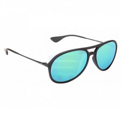 Ray-Ban Aviator Matte Black Frame & Blue Green Mirrored Sunglasses For Unisex - RB4201-622-3R