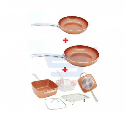 Bundle-Combo Offer Sonashi 5 In 1 Copper Coated Fry Pan SFP-8024 - Round 24cm + Sonashi 5 In 1 Copper Coated Fry Pan SFP-8026  - Round 26cm + Sonashi 5 In 1 Copper Coated Fry Pan - Square 30cm SFP-8030