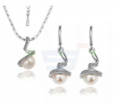 18k Gold Plated Wedding Pearl Jewelry Sets Made with Austrian Crystal For Women