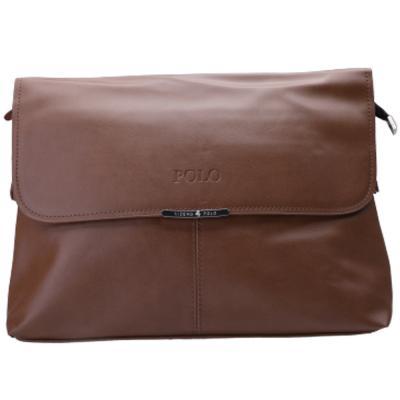 Viding Polo Leather Bag for Men, Brown