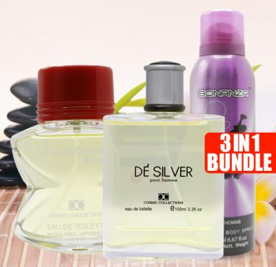 Bundle Offer Buy Collection Sensational 100ml for women And Get De Silver EDT 100ml for Men And Maglo Bonanza Deo Fusion 200ml unisex Free