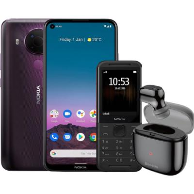 3 In 1 Nokia 5.4 Dual SIM Purple 4GB RAM 128GB Storage 4G LTE, Baseus Single Earbuds And Nokia 5310 8MB RAM 16MB, Black