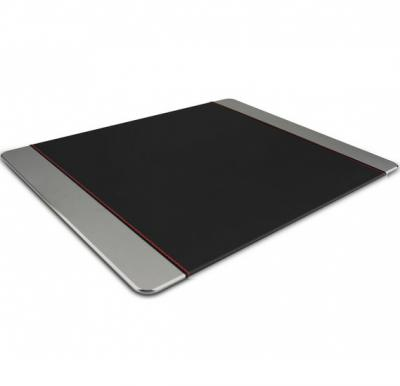 Promate Mouse Pad, Premium Leather-Wrapped Anodized Aluminum Mouse Pad, METAPAD-PRO.GREY