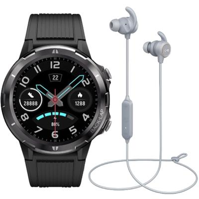 2 In 1 Xcell XL-Classic-BLK Classic Smart Watch Black And Aukey Key Series EP-B60 Bluetooth Water Resistance Sports Wireless Earbuds Light Gray