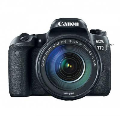 Canon EOS 77D EF-S 18-135mm F4-5.6 IS STM lens , 24.2 MP DSLR Camera, Black