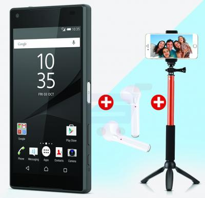 3 in 1 M-Horse Xperia 4G Smartphone - Black,  HBQ-i7 tws Double Side Wireless Bluetooth Earphone With Mic and Selfie Stick With Stand And Remote