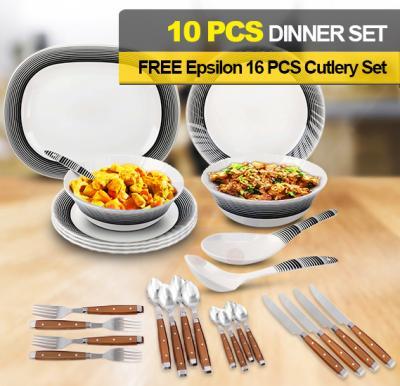 Bundle Offer Epsilon 10 Pcs Melamine Dinner Set - EN4249 And Get Epsilon 16 Piece Cutlery Set - EN4111 Free