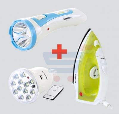 Combo Offer! Krypton Steam Iron,Dry Iron/Spray/Steam/Non Stick Coating-KNSI6015 + Krypton Rechargeable Flashlight KNFL5031+Krypton Energy Saving Lamp KNRB5020