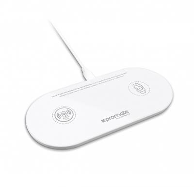 Promate Qi Wireless Charger Pad, 10W Ultra-Slim Dual Qi Charging station, AuraBase-2