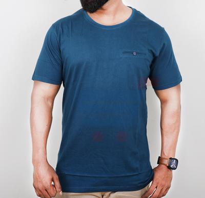 Highlander Mens Cotton Round Neck Half Sleeve T-Shirt Navy Blue - Large