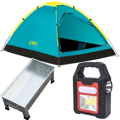 3 in 1 Camping Bundle Pack Bestway Pavillo Cooldome 2 Person Tent, 68084, Multifunctional Portable Lamp YD878 and Indoor and Outdoor Barbecue Stand, Silver
